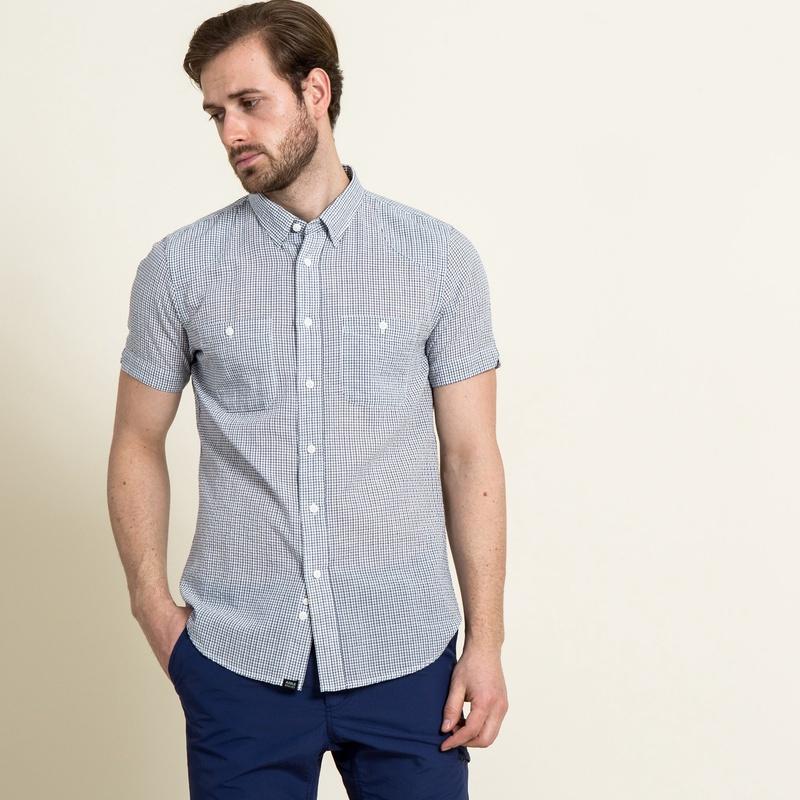 50%OFF!AIGLE メンズ メンズ 吸水速乾 スモールチェック 半袖シャツ ZCH3130 blue (001) シャツ・ポロシャツ