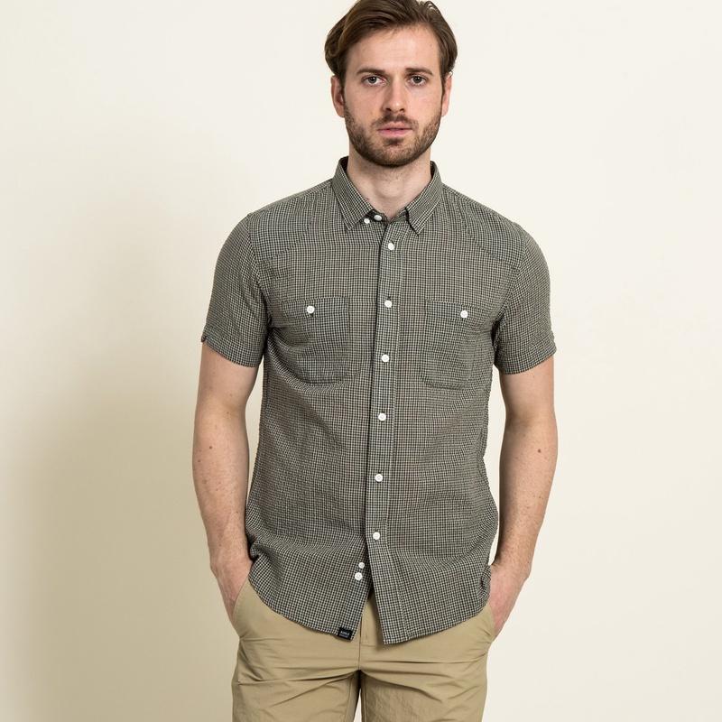 50%OFF!AIGLE メンズ メンズ 吸水速乾 スモールチェック 半袖シャツ ZCH3130 green (002) シャツ・ポロシャツ