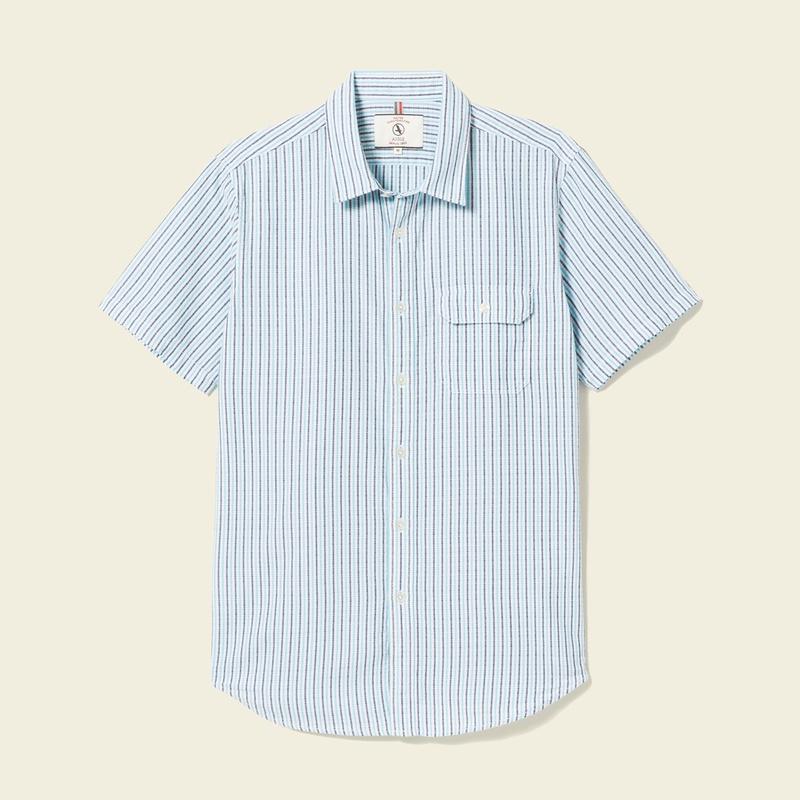 50%OFF!AIGLE メンズ メンズ コットンストライプシャツ半袖 ZCH3155 Blue (001) シャツ・ポロシャツ