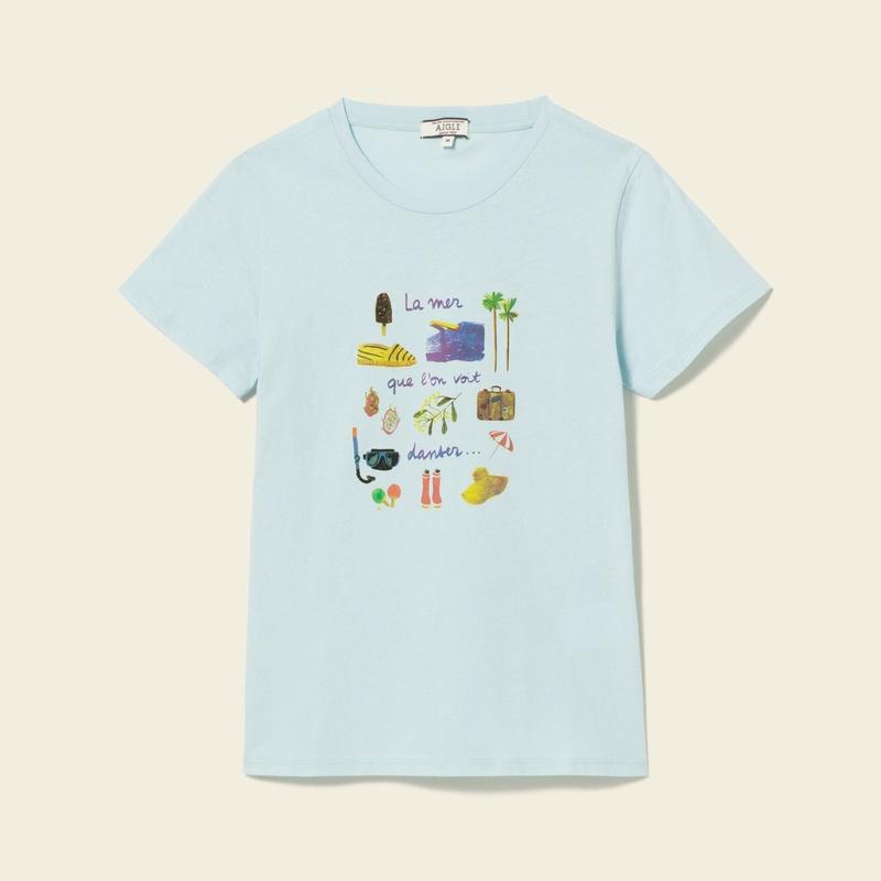 50%OFF!AIGLE レディース レディース リゾート柄プリントTシャツ ZTF3255 BLUE (002) Tシャツ